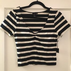 NWT Navy & White Striped Ruched Front Crop Top